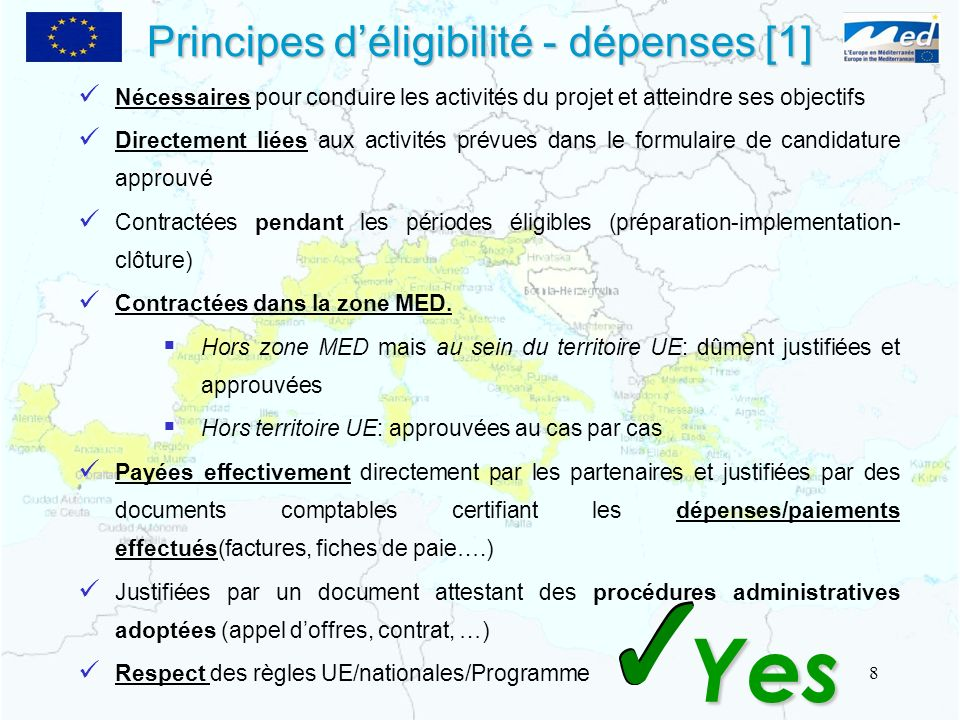 Principes d'éligibilité - dépenses [1]